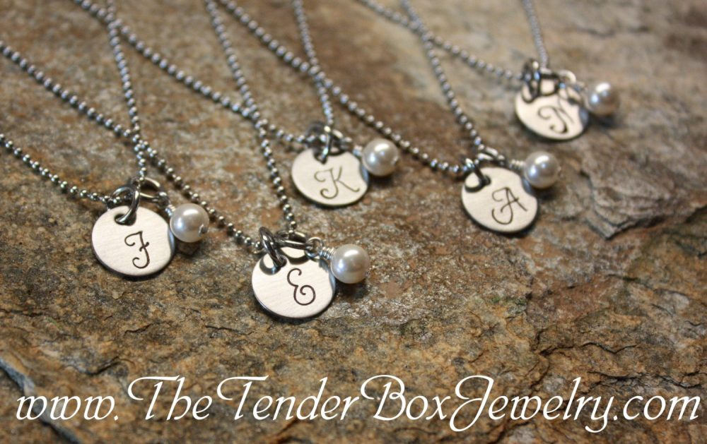 Personalized Monogram Initial Necklace Wedding Bridesmaid Gift Set Handstamped Pendant With Swarovski Pearl Mother's Day Gift Idea