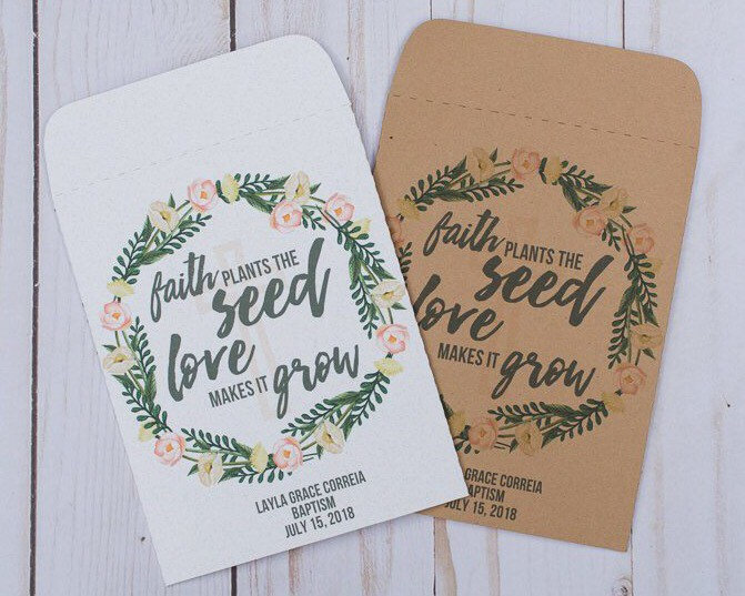 Religious Wedding Favors Gifts Seed Packets Faith Plants The Floral Flower, Rustic, Personalized, Envelopes, Bridal Shower Baby
