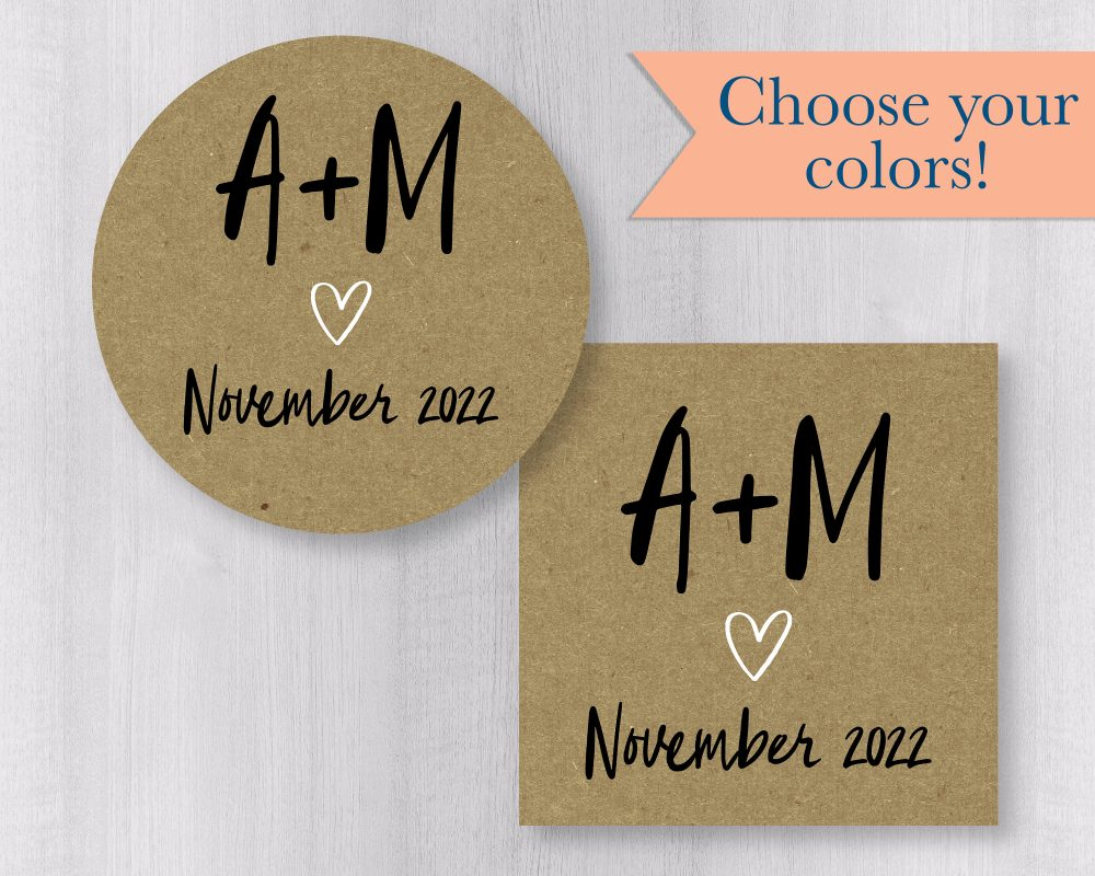 Save The Date Calendar Stickers, The Envelope Seals, Wedding Kraft Stickers | #166-Kr