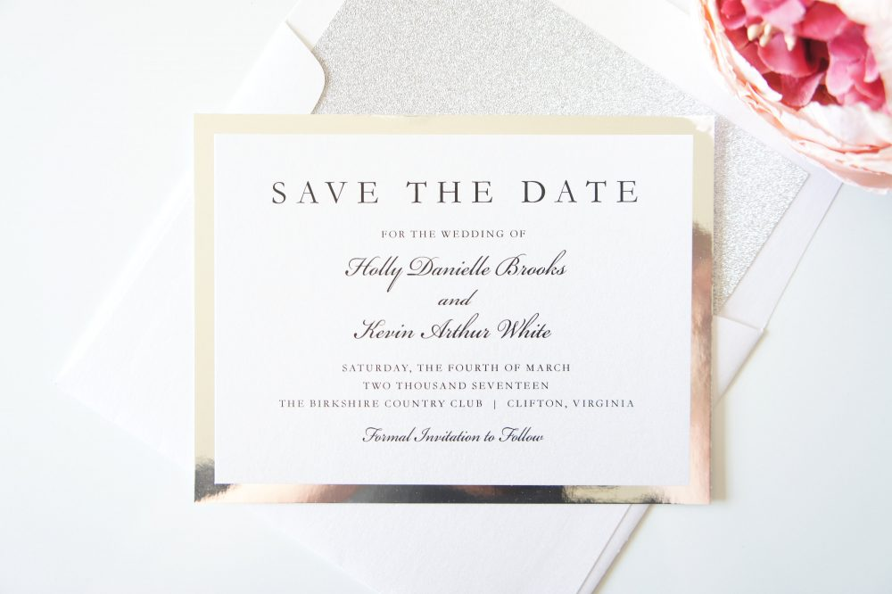 Elegant Save The Date Card, Silver Foil Dates, Wedding Cards - Deposit