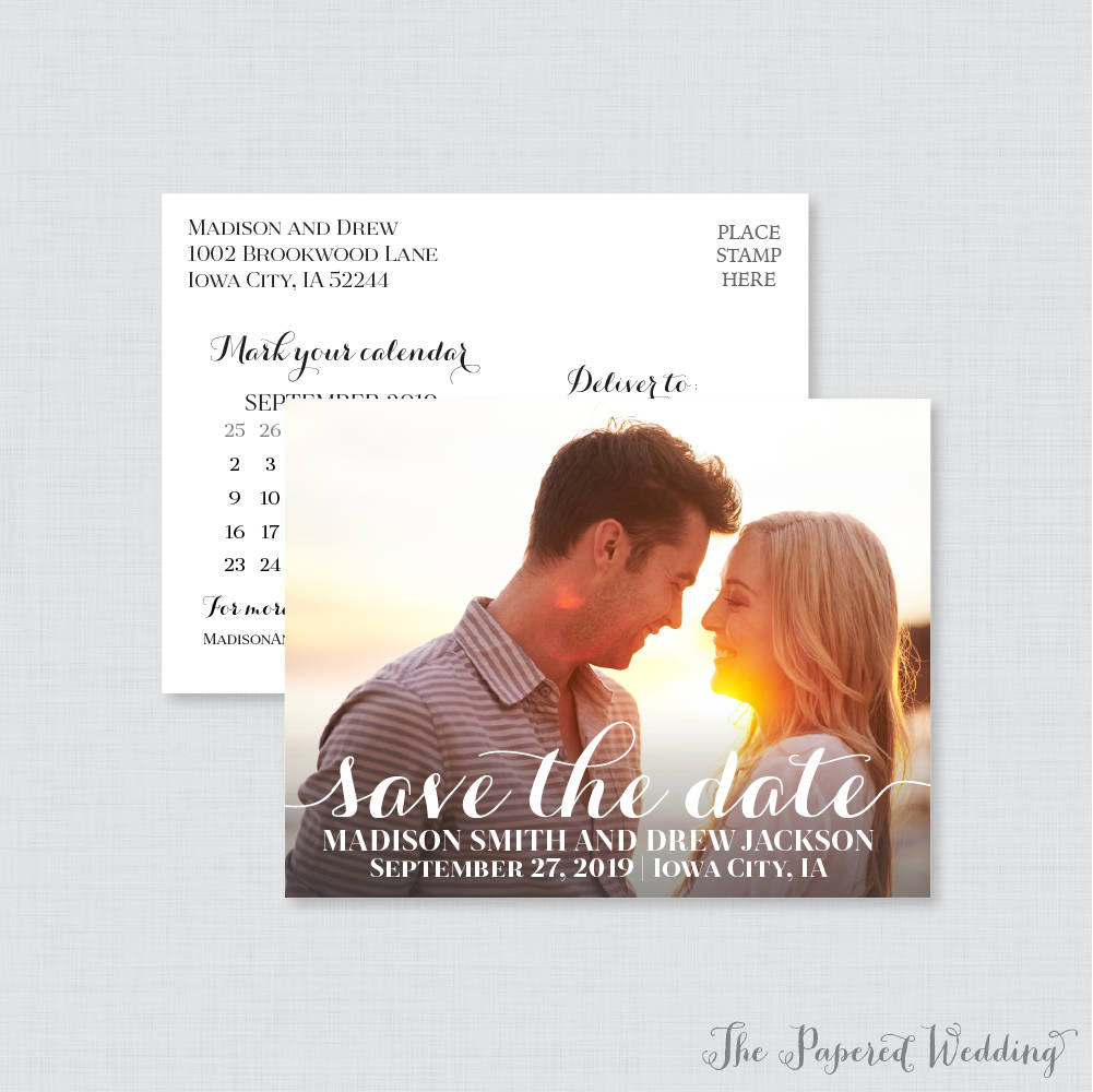 Printable Or Printed Photo Save The Date Postcards - Classic Our For Wedding Elegant Script Dates 108