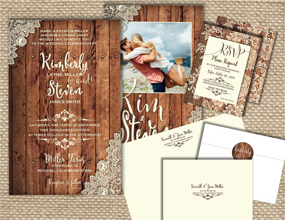 Photo Wedding Invitation, Country Lace Wood & Lace, Invitation Template