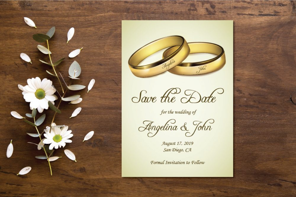 Two Gold Wedding Rings Save The Date Announcement/Vintage Postcard Printable/Save Announcement/Save Cards
