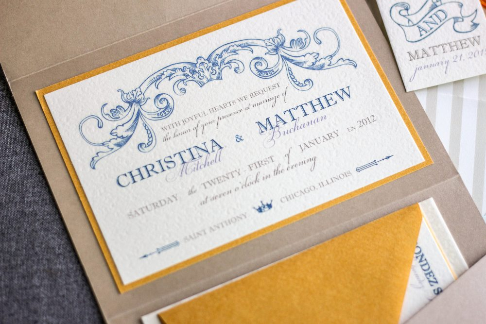 "Blue & Gold Wedding Invitations, Vintage Invitation Suite, Beach Invites, Luxury Set - ""Romantic French Country"" Pf-1L Sample"