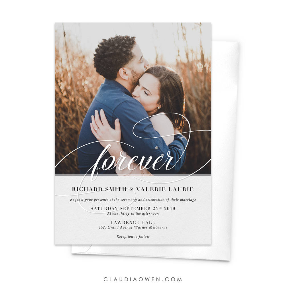 Forever Romantic Wedding Photo Card Invitation, Elopement Announcement Card, Rehearsal Dinner, Engagement Party, Anniversary