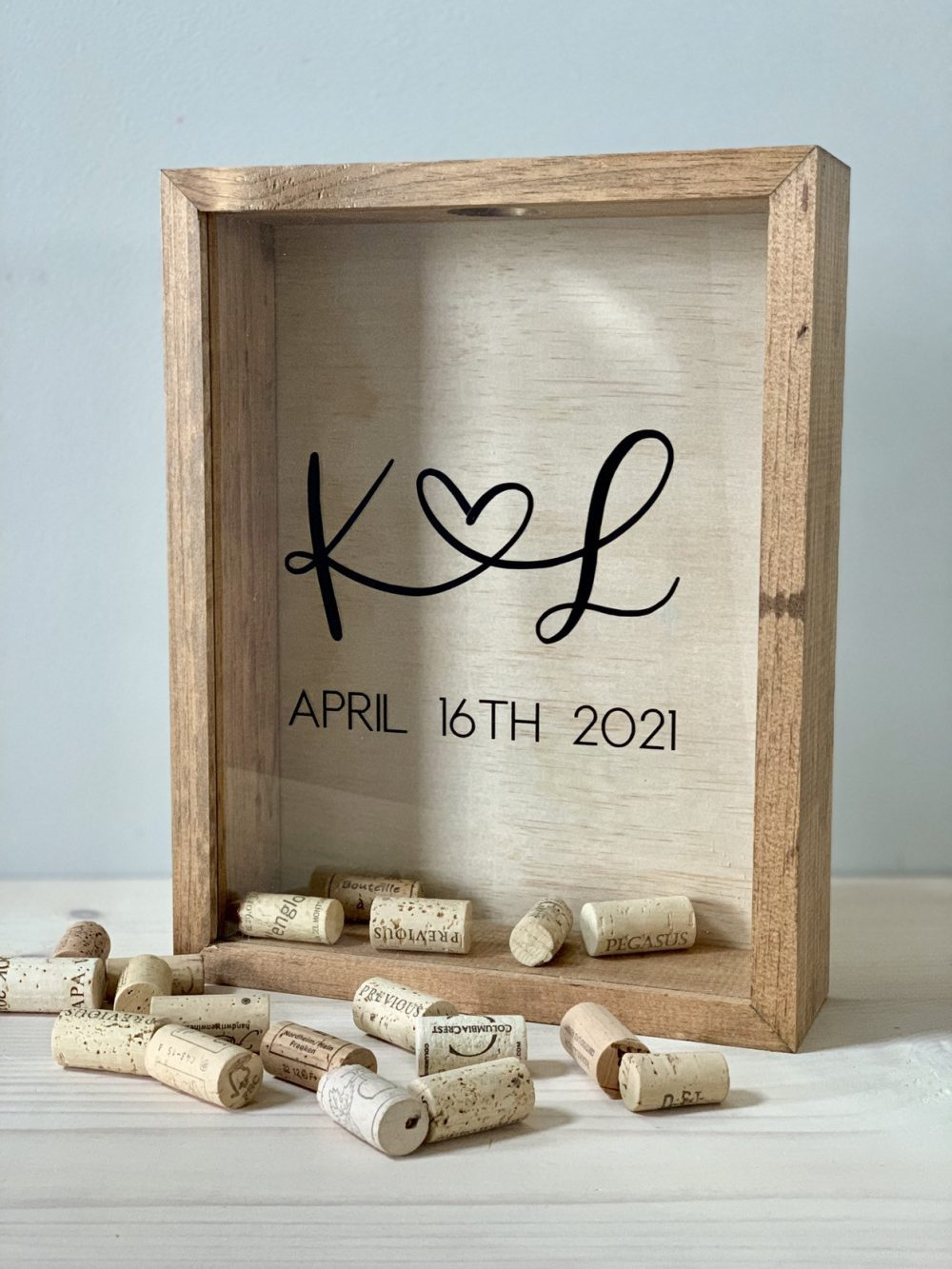 Wine Cork Holder | Bridal Shower Gift Wood Guest Book Shadow Box For Corks, Photos, Messages, Flowers & More 11x14 Inches