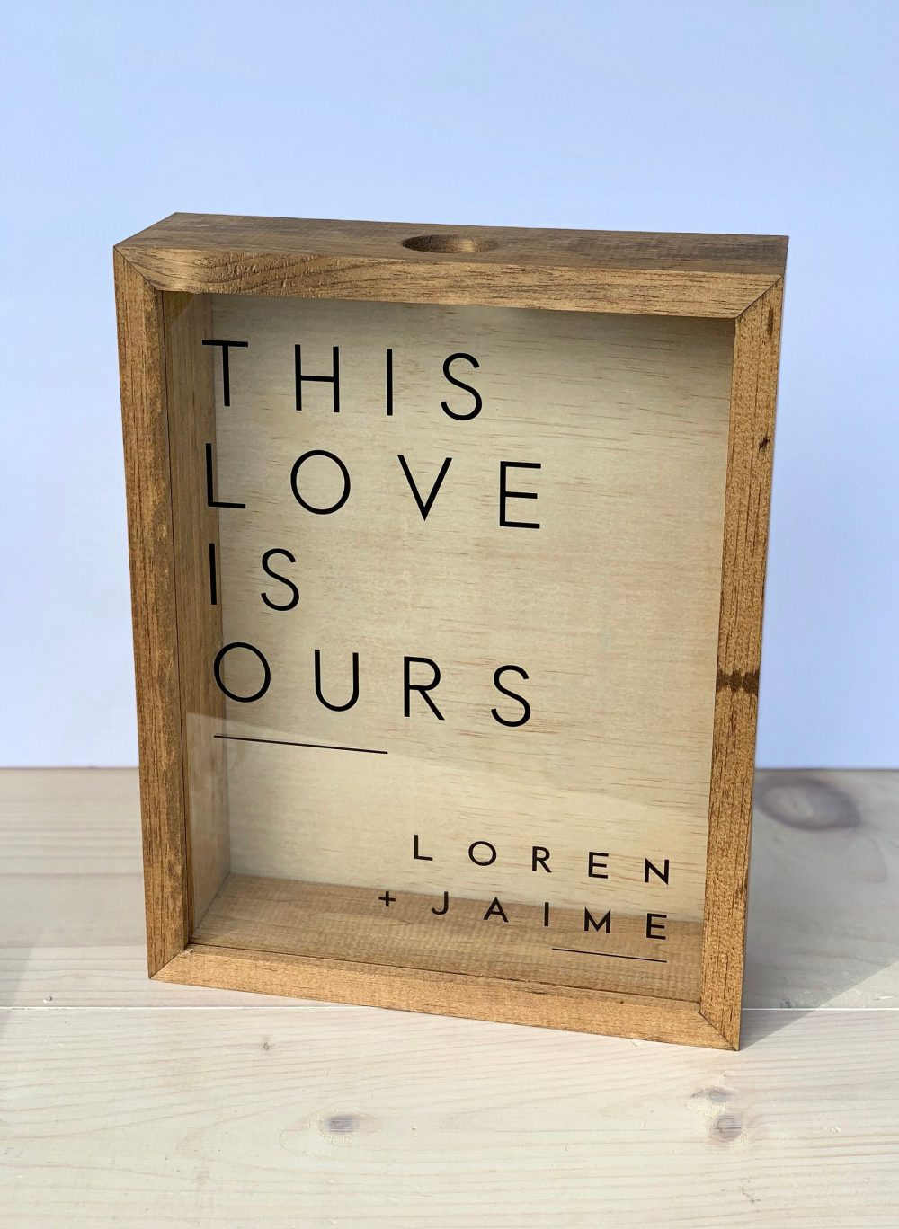Personalized Wine Cork Keeper | Wood Box Large Size Modern Shadow Display For Corks - This Love Is Ours