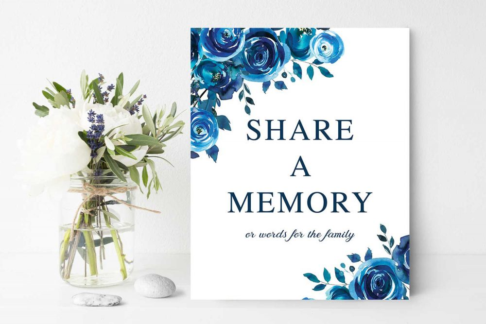 Share A Memory Sign, Funeral Decor Remembrance, 8 X 10 Poster Blue Floral Memorial Printed Or Diy Home Print
