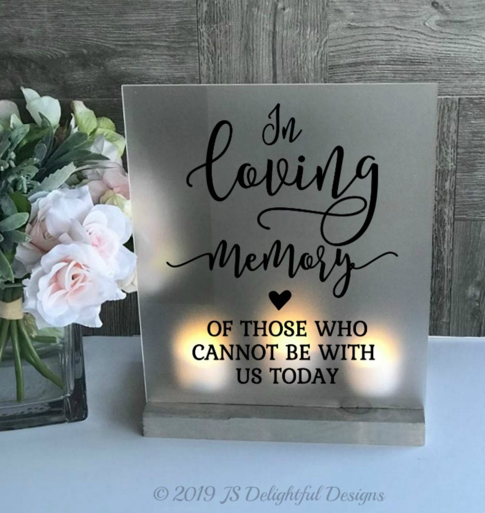 Wedding Memorial Sign, in Loving Memory, Memorial, Memory Wedding, Candle