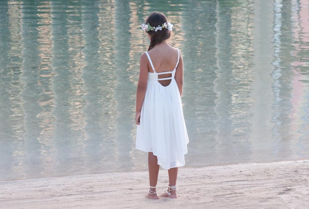 Beach Wedding Flower Girl Dress, Modern Open Back High Low Spaghetti Strap Boho Dress