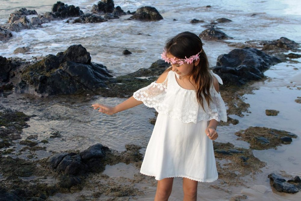 Beach Wedding Flower Girl Dress, Off Shoulder Boho Girls Lace Dress Boho, Short White