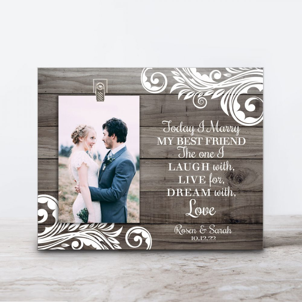 Personalized Wedding Frame - Today I Marry My Best Friend Anniversary -Personalized Picture Photo Bridal Shower Gift