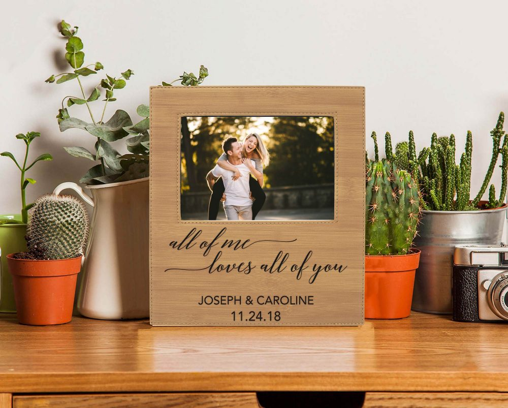Valentine's Day Picture Frame, Personalized Leather Photo Frame Pfea-Bam-Allofme