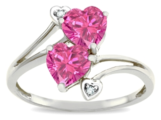 Tommaso Design™ Heart Shape 6 mm Simulated Pink Tourmaline Ring