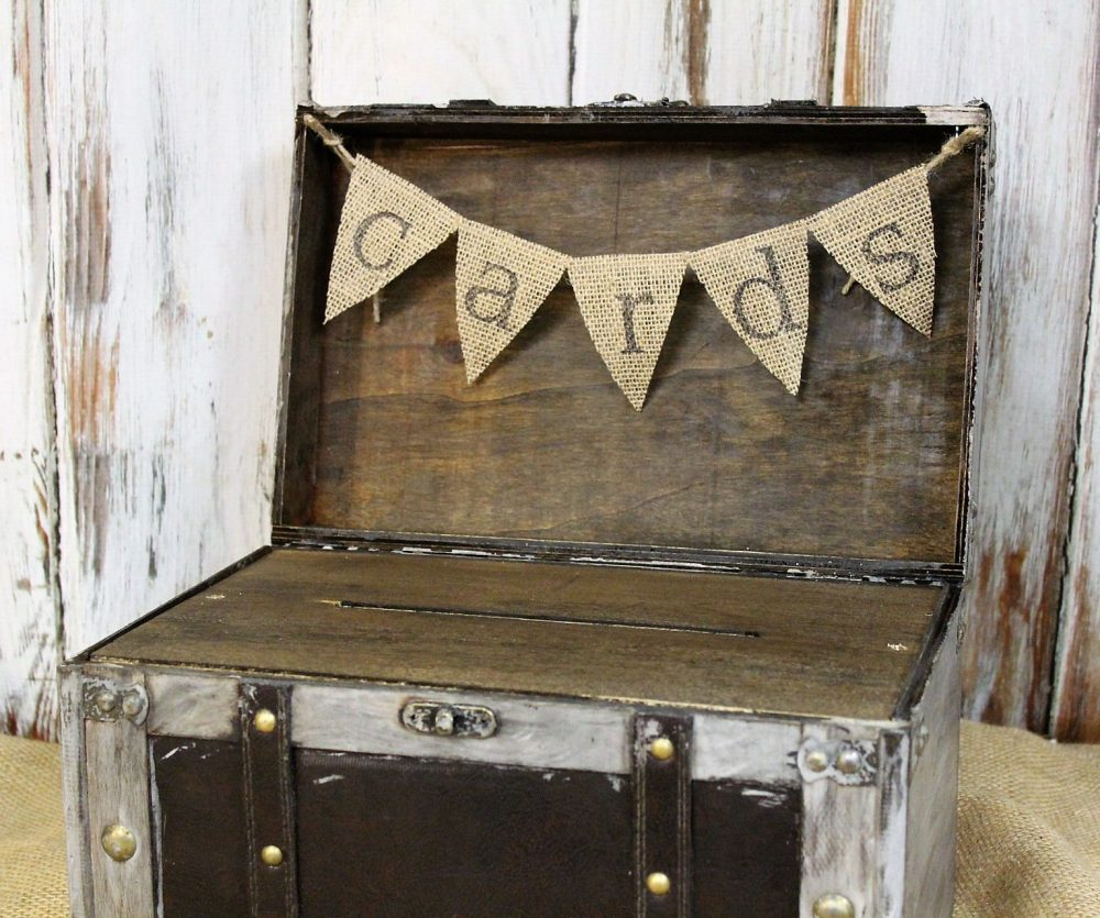 Wedding Card Box With Slot, Shabby Chic Box, Advice Wedding, Ivory/Gray Wooden Rustic Weddding