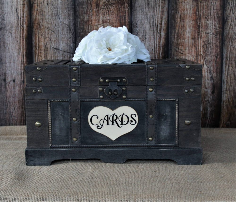 Wedding Card Box, Extra Large Trunk, Shabby Chic, Rustic Cards-Advice-Wooden Box-Wedding Momentums-Home Decor-Birthday Cards