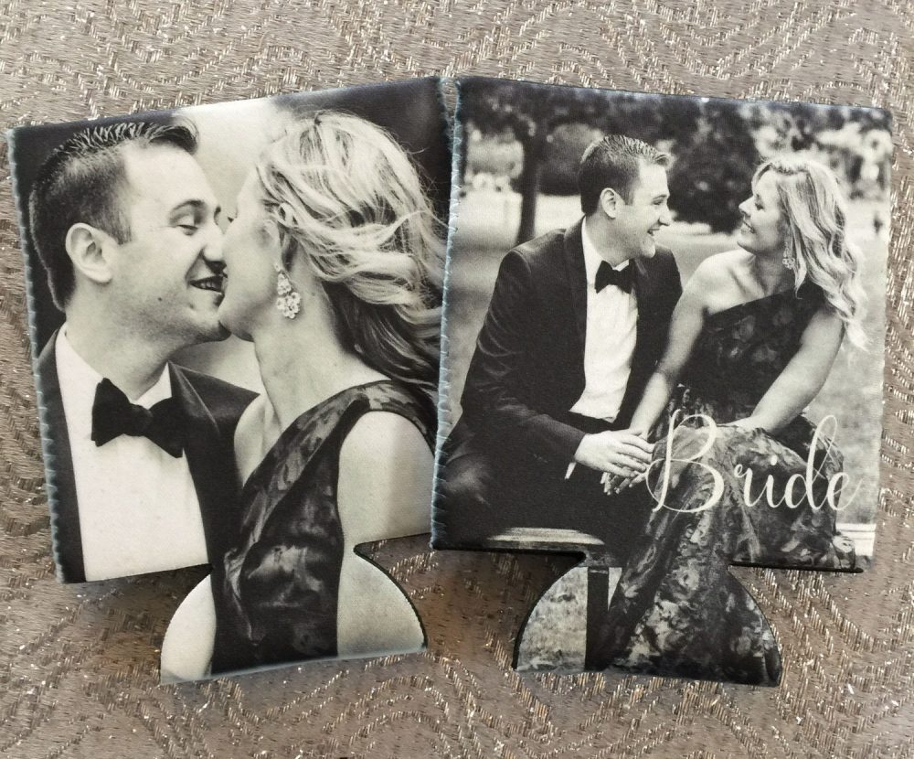 Custom Photo Huggers. Personalized Wedding Can Coolers. Wedding Party Favors.great Save The Date Gifts
