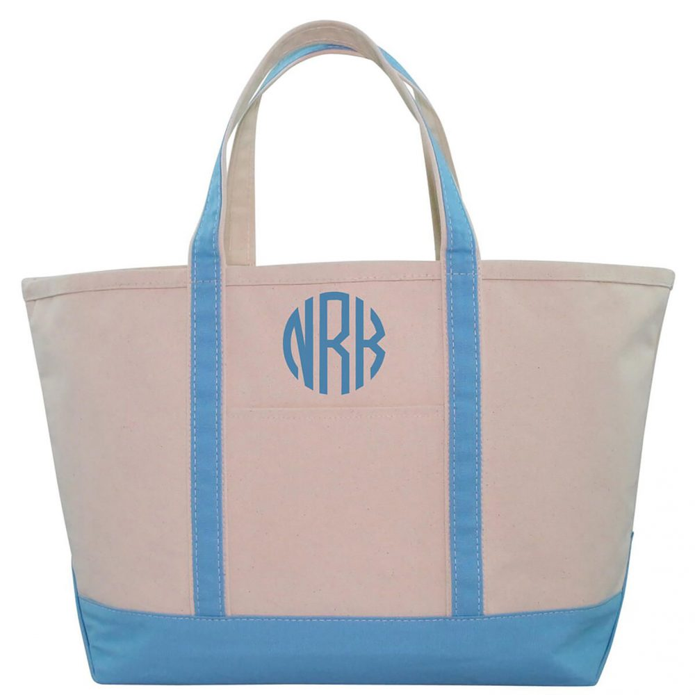 Set Of 2 Personalized Large Canvas Boat Tote, Weekender Bag, Bridesmaid Gift Tote