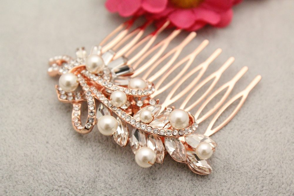 Wedding Hair Comb Floral Bridal Rose Gold Accessories Boho Wire Leaf Bohemian Pin Pearl