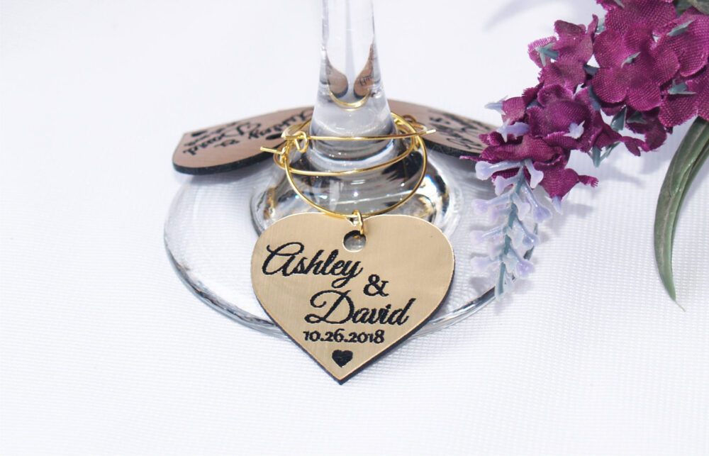 100Pcs Personalized Gold Wedding Wine Glass Charms Favors, Table Name Decoration, Place Setting Names, Anniversary Decor