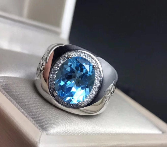 Royal Blue Topaz Men's Ring 925 Silver Ring New Recommended Simple Handmade Ring, Engagement Ring, Dainty Ring, Gift For Her