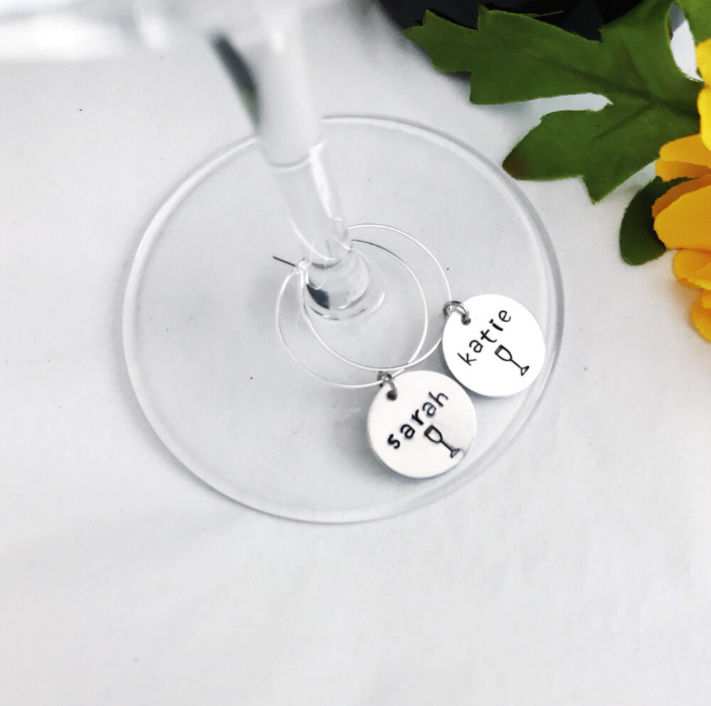 Bachelorette Party Favors, Personalized Wine Glass Charms, Tasting Party, Unique Bridal Shower Wedding Place Cards