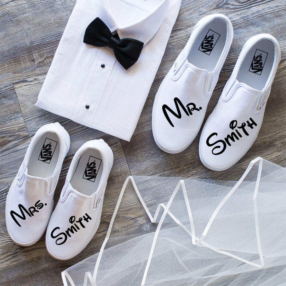 Just Married Couples Wedding Vans Shoes, Disney Bride & Groom Gift, Couples Bride Wedding Shoes, Shoes Honeymoon Outfit