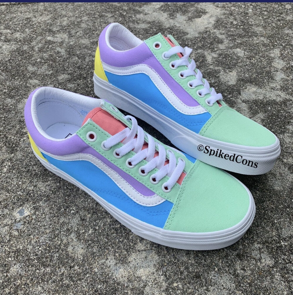 Sweet Tart Vans Custom Old Skool -Big Kids/Adults Men Women Pink Mint Blue Purple