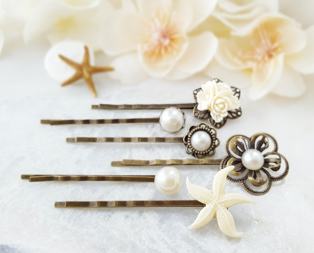 starfish Bobby Pin, Set Of 6 Beach Wedding Hair Pins, White Pearl Decorative Hairpins, Ivory Bridal Accessory, Party Ask Gift H4238