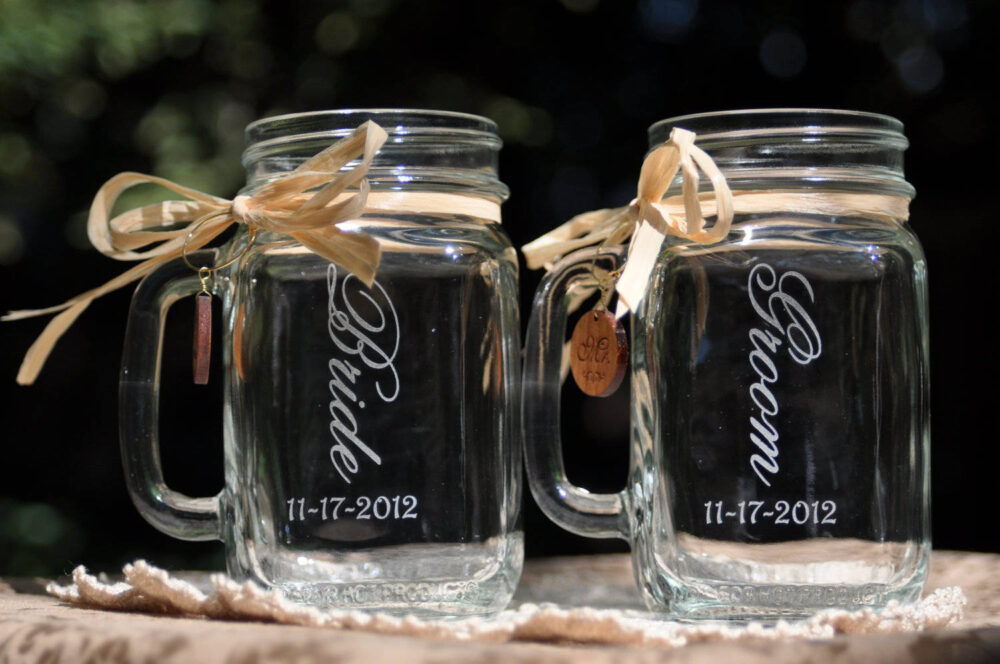 Bride & Groom Wedding Mason Jars - Choice Of 21 Fonts Left Handle Or Right Choices