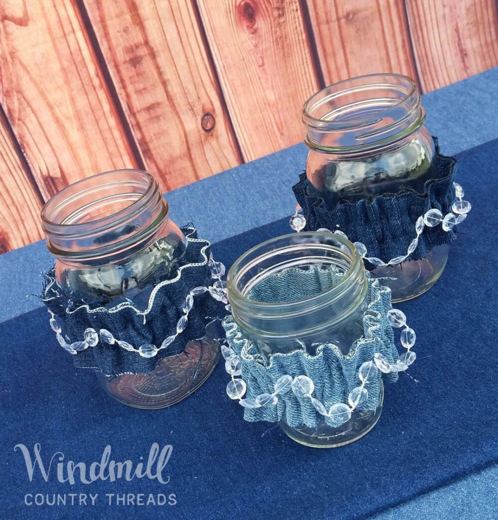 Denim & Diamonds Mason Jar Small Sleeves, Pint Cuffs, Blue Jean Wedding Decor, Centerpieces