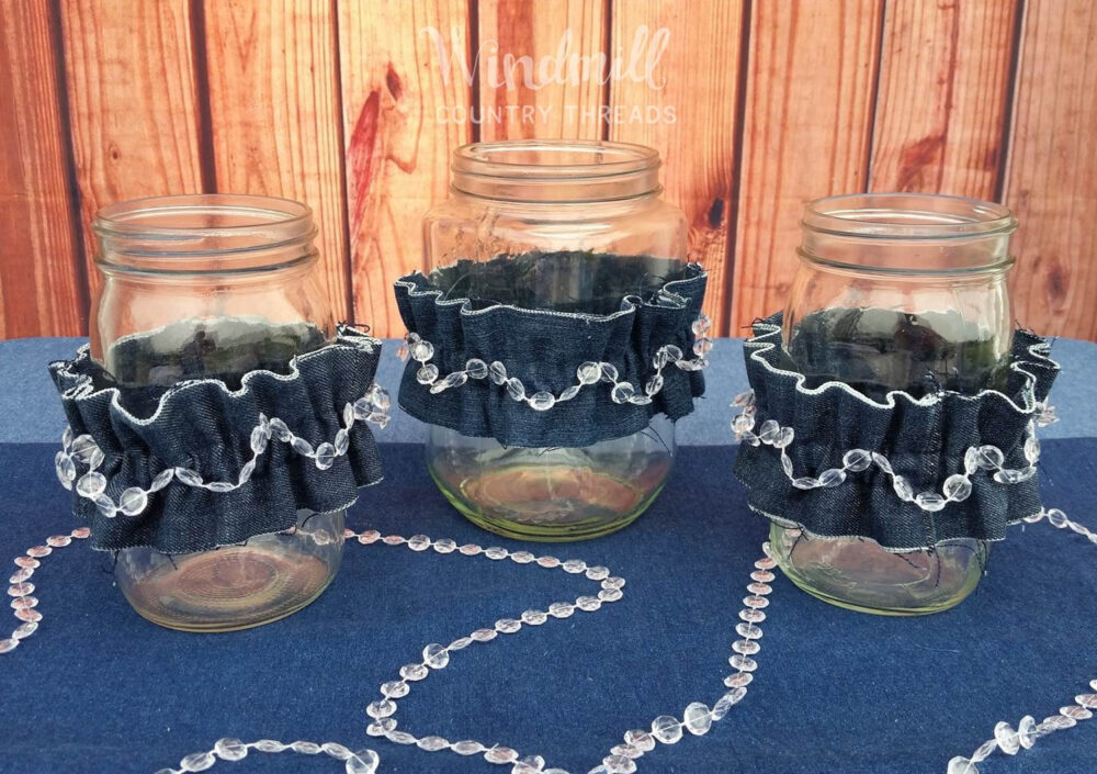 Denim & Diamonds Mason Jar Large Sleeves, Quart Cuffs, Blue Jean Wedding Decor, Centerpieces