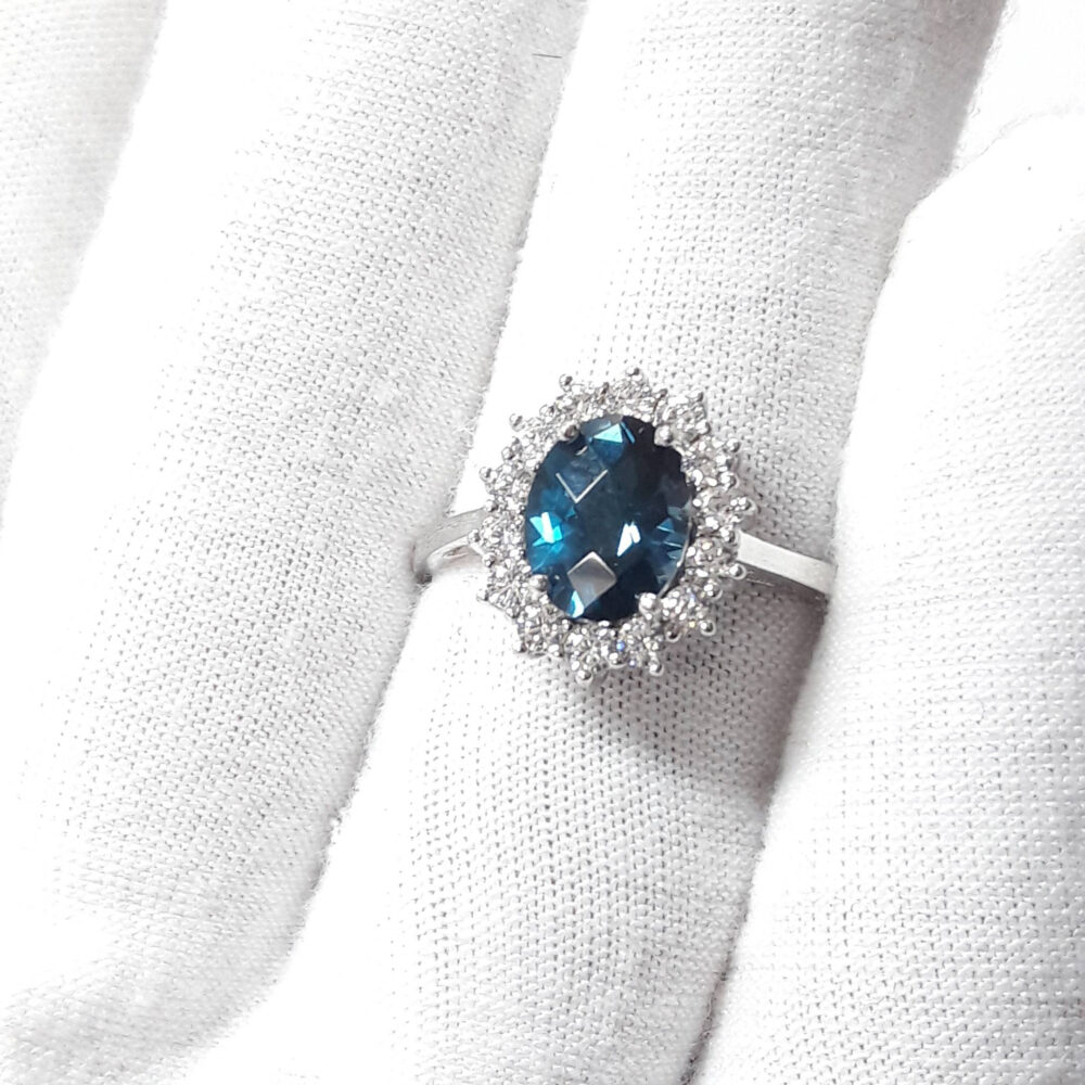 London Blue Topaz Ring, Silver Ring, Wedding Ring, Engagement Ring, 925 Sterling Silver Ring, Gift For Her, Luxury Ring, December Birth Stone Ring