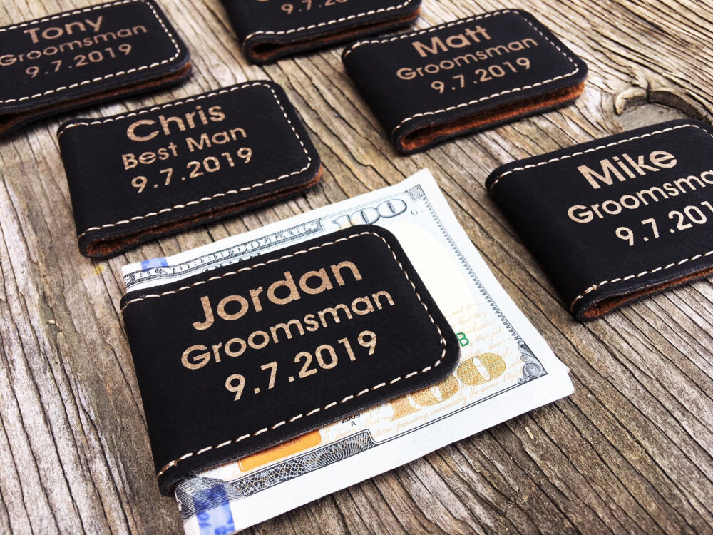 Personalized Money Clips For Groomsmen, Men's Leather Clips, Custom Engraved Groom Thank You Gifts, Wedding Party Gifts
