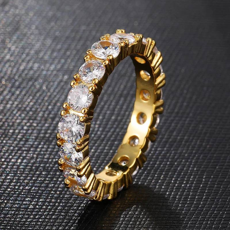4mm 1 Row Solitaire Tennis Band Iced Out Ring Cz Diamond Ring Gold Statement Rings Hip Hop Men's Gift For Her