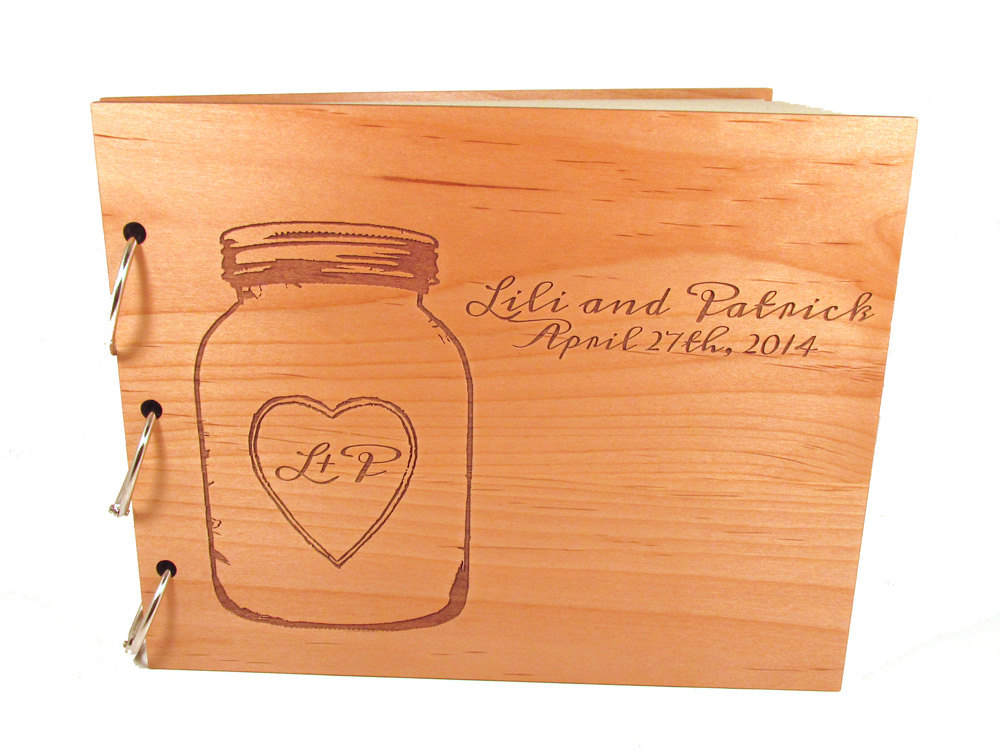 Mason Jar Guest Book - Real Wooden Wedding