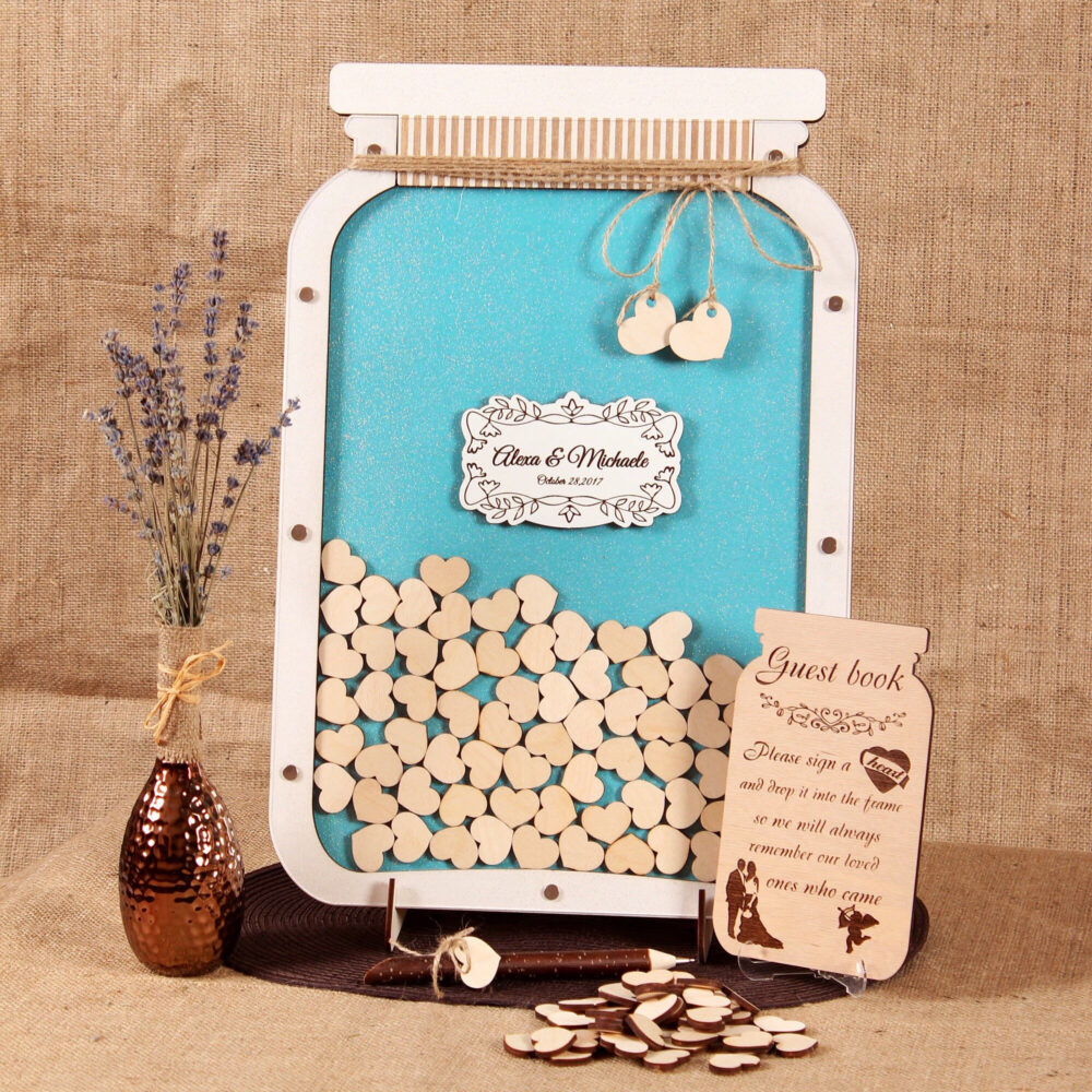 Mason Jar Guest Book Wedding Alternative Wooden Guest Drop Box Custom Guestbook Rustic