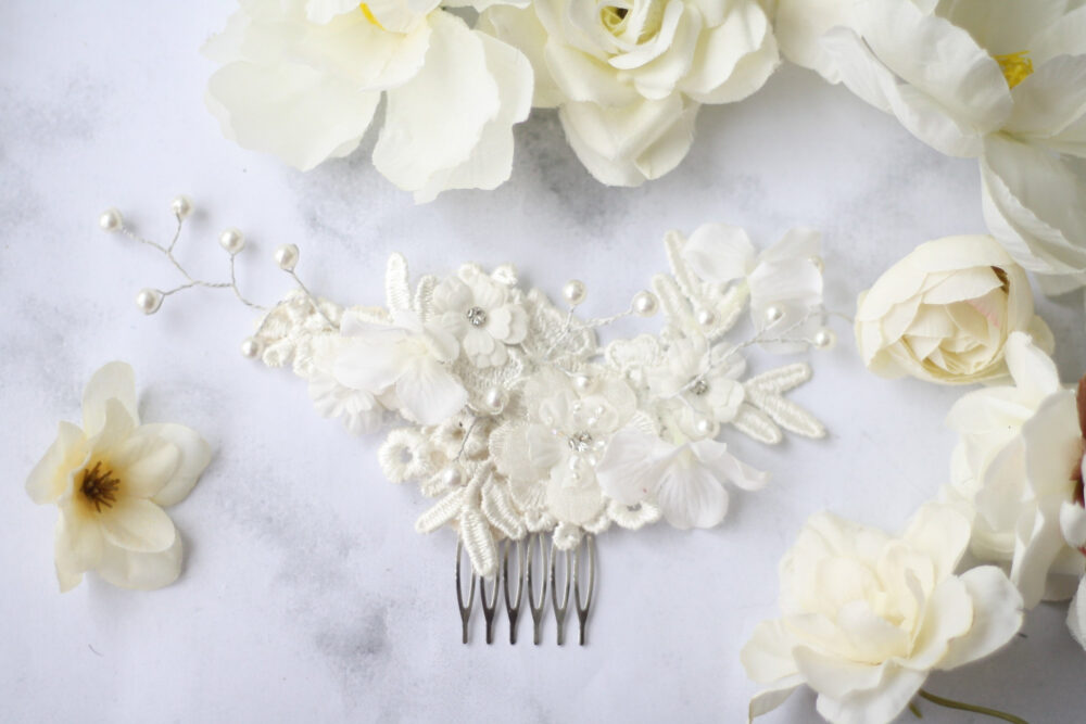 White Hair Comb Pearl Bridal Vine Boho Lace Piece Bridal Woodland Accessory Pin