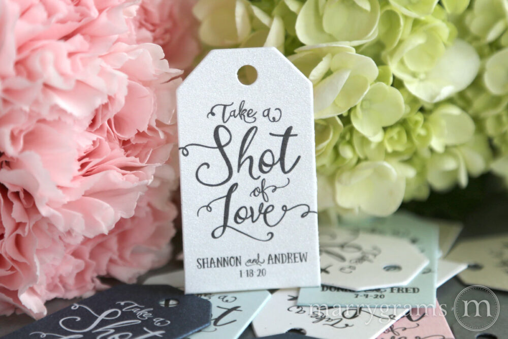 Wedding Favor Tags Take A Shot Of Love Custom Personalized Names & Date Perfect For Champagne, Mini Liquors Alcohol Koozie Bulk Listing