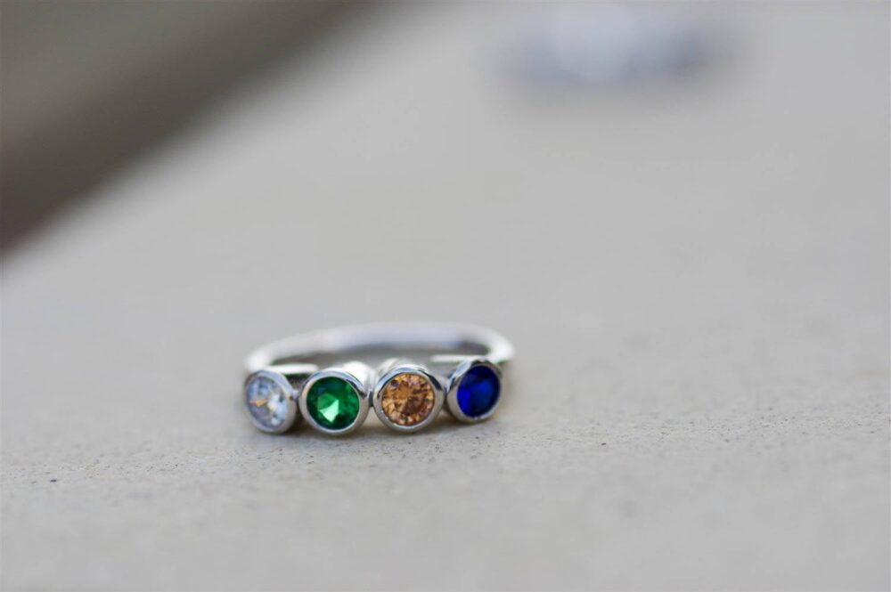 Personalized Mothers Ring, Birthstone Customized Mom Gift For Mom, 3 Ring