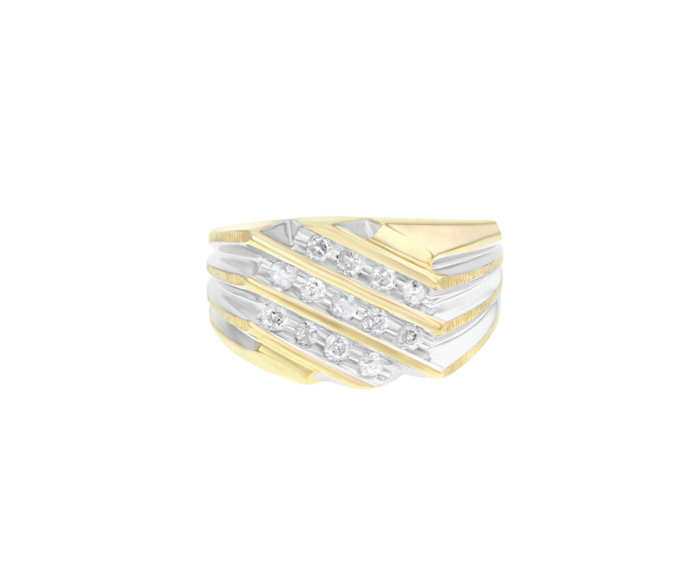 Gents Two Toned Diamond Ring - 14K Yellow Gold .65Cttw Gift For Him, Fathers Day, Statement Ring, Everyday Thumb Or Pinky Mens Ring