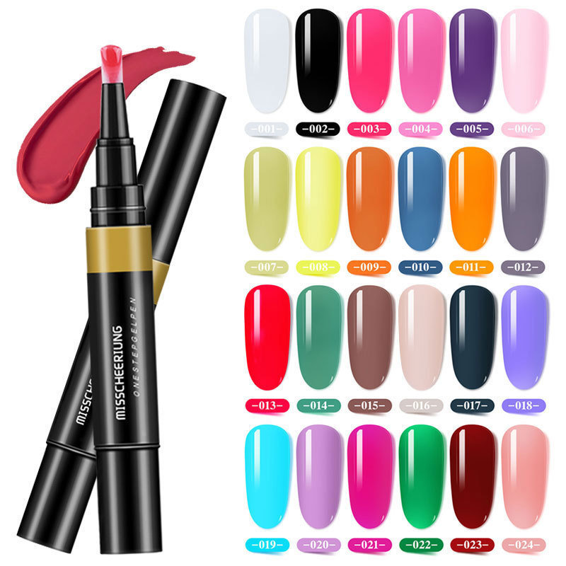 24 Colors One Step Gel Nail Varnish Pen Glitter 3 in 1 Art Color Gel Polish Hybrid Easy To Use Uv Paint Glue(7003-410