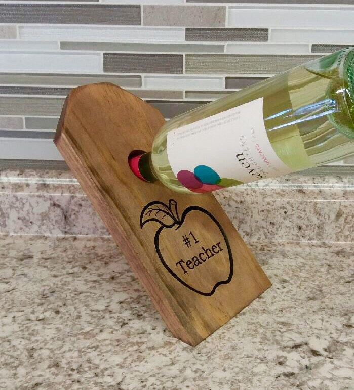 Personalized Wine Bottle Holder, Rustic Wedding, Bridesmaids Gift, Groomsmen Engraved, Mother's Day, Anniversary Gift