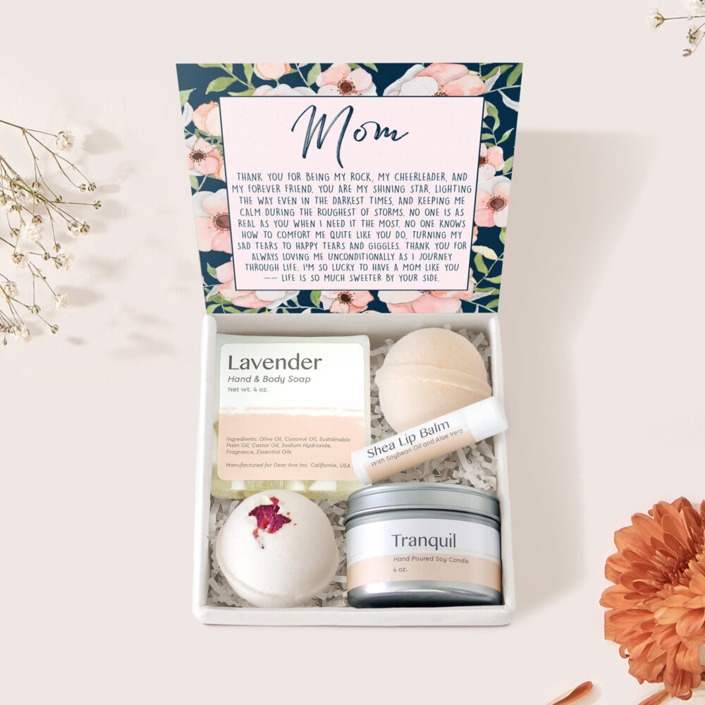 Mom Spa Gift Box/Basket For Mother, Mommy, Mama, Mother's Day With Optional Double Circle Necklace