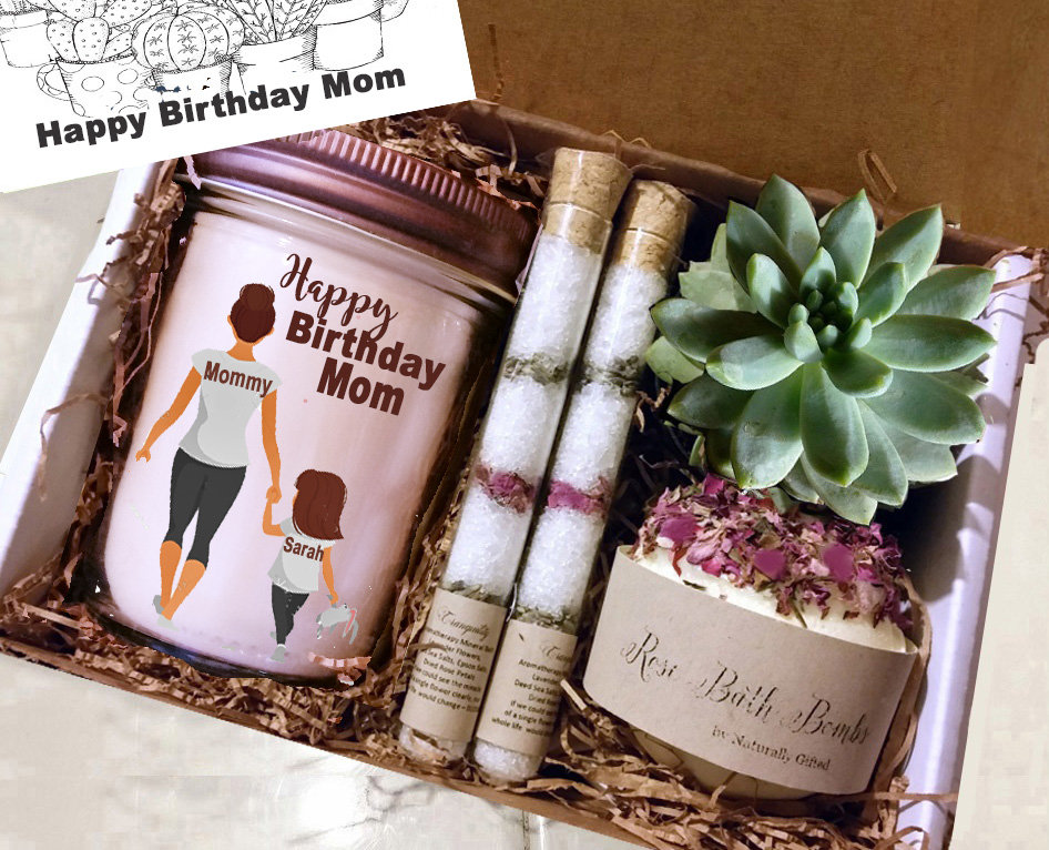 Personalized Gift, Spa Day Succulent Gift Box, Mother's Birthday Basket, For Mom, First