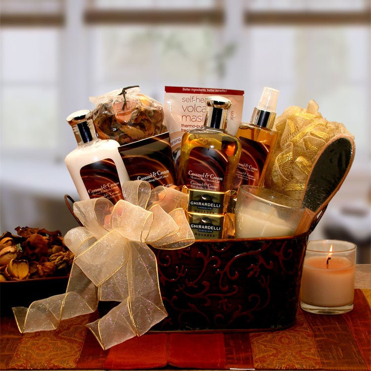Women's Gift Baskets Spa Basket For Her Caramel & Crème Bliss Mother's Day