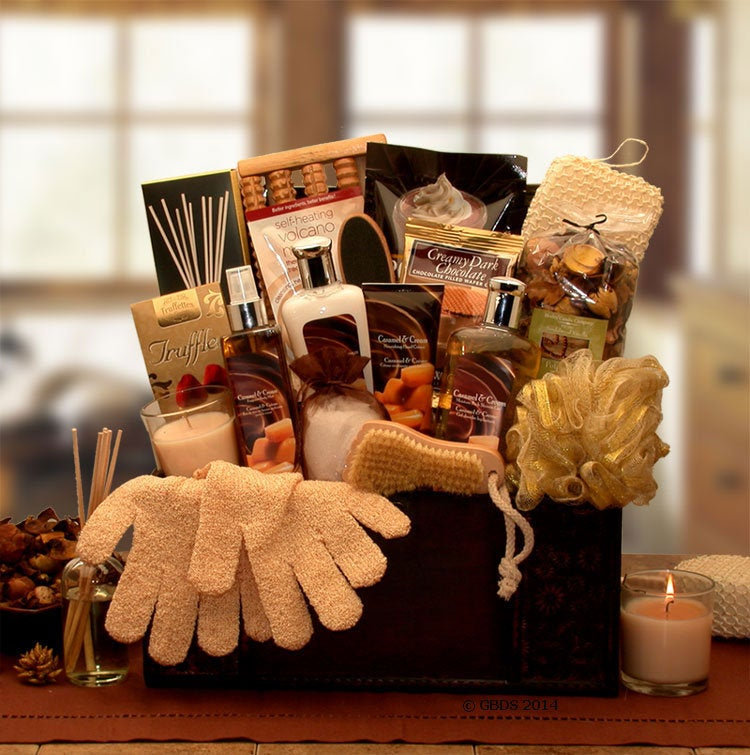 Women's Gift Baskets Spa Basket For Her Caramel Treasures Chest Mother's Day