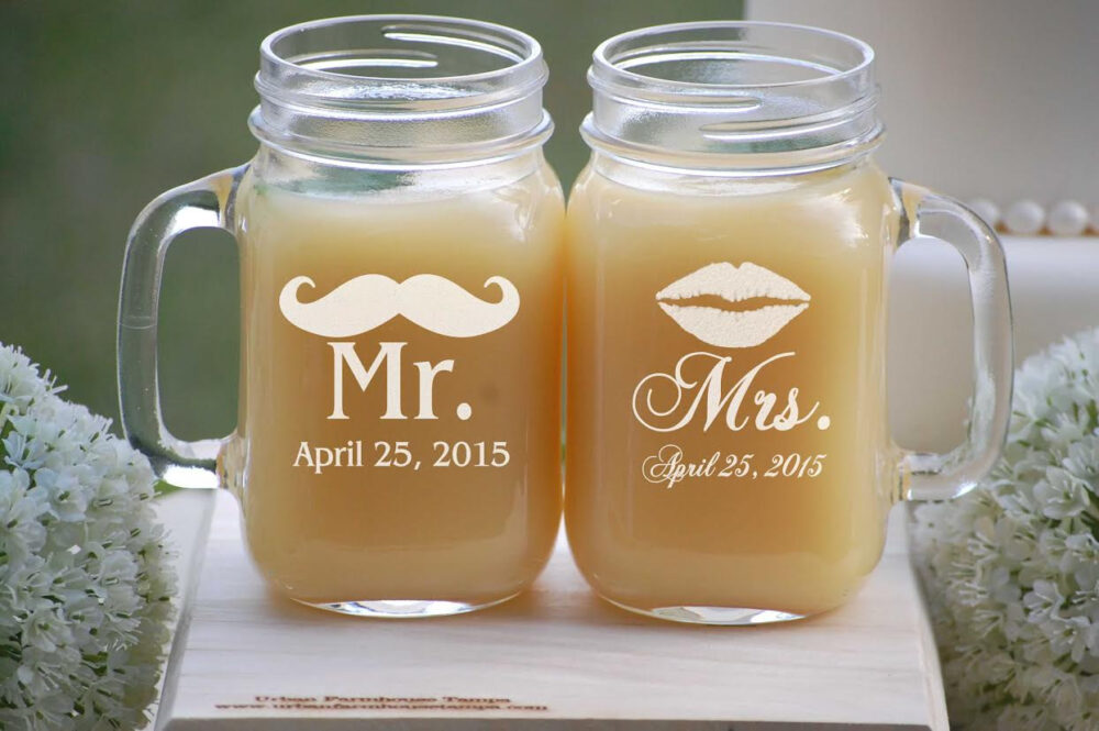 Personalized Mason Jar Mugs, Wedding Gift, Mr. Mustache - Mrs. Lips, Custom Engagement Beer Lovers Country Gift Rustic