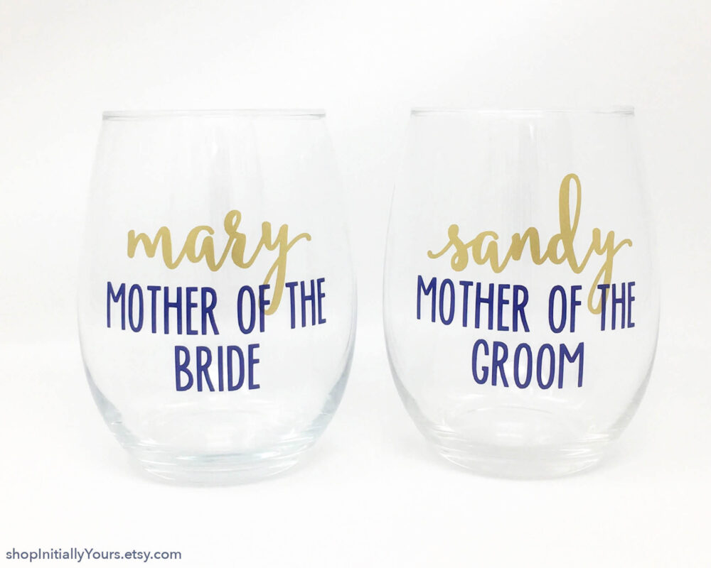 Personalized Mother Of The Bride Groom Stemless Wine Glass Mothers Wedding Glasses Parents Day Thank You Gift