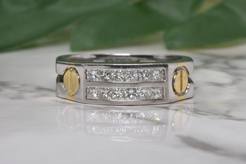 Mens Diamond Ring in 14Kt Gold   Gift For Him Rings Men Jewelry Male Ring Fancy